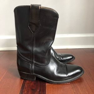 FRYE Black Leather Cowboy Pull-on Boots 7.5